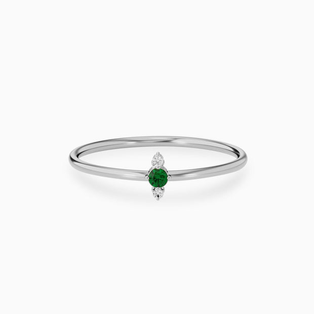14k Emerald And Diamond Half Eternity Ring