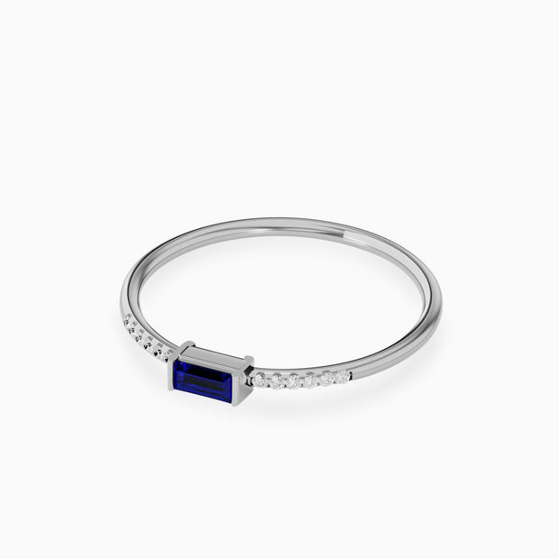 14k Unique Blue Sapphire And Diamond Ring