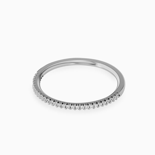 14k Half Diamond Eternity Wedding Band