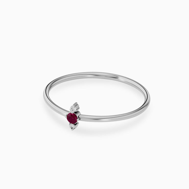 14k Gold Thin Ruby Diamond Ring