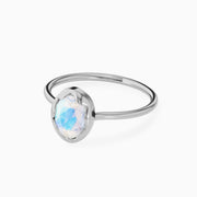 14k Affordable And Simple Oval Moonstone Ring