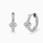 14K Flower Diamond Huggies