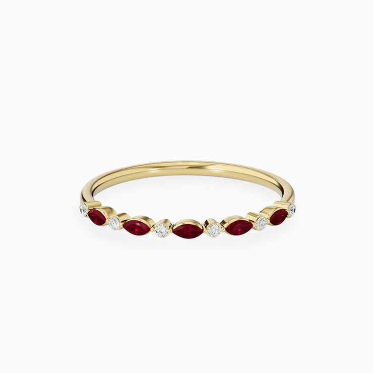 14k Ruby And Diamond Gold Promise Ring