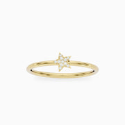 14k Solid Gold Star Ring With Tiny Diamonds