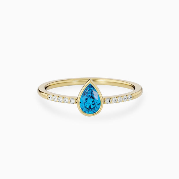 14k Gold Swiss Blue Topaz Engagement Ring
