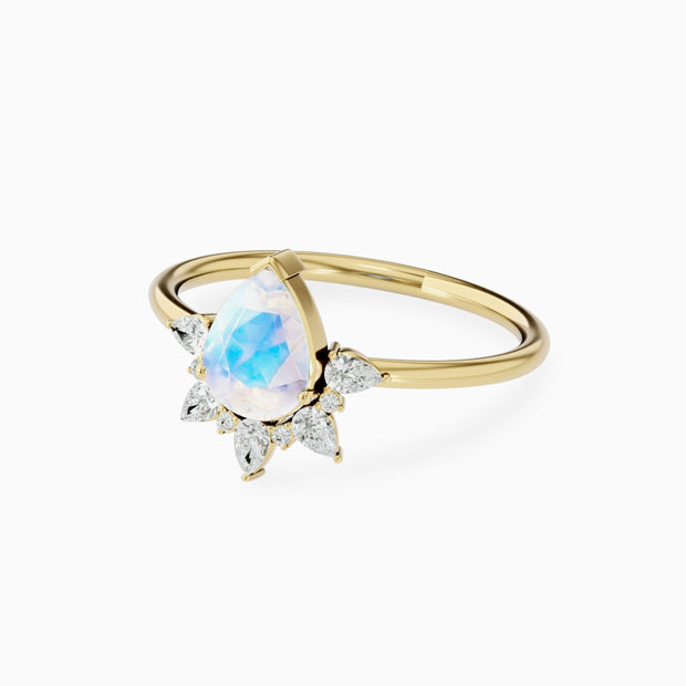 Unique Moonstone And Diamond Engagement Ring