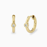 14k Tiny Diamond Hoop Earrings