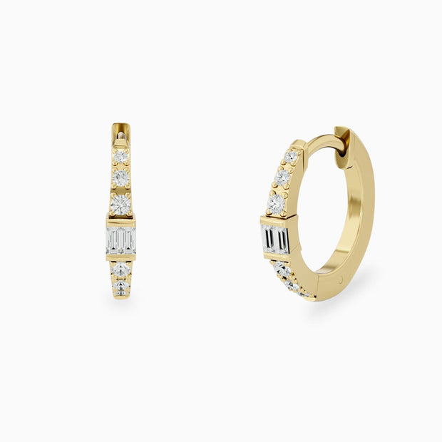 14k Baguette Diamond Hoop Earrings