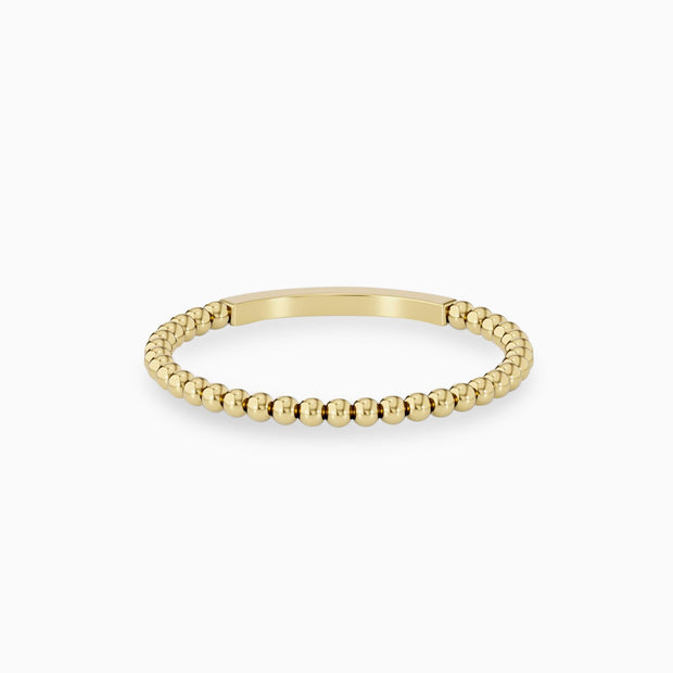 14k Gold Dainty Beaded Wedding Ring