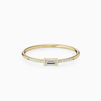 14k Gold Baguette Cut Diamond Ring