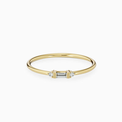 14k Thin Baguette And Round Diamond Ring