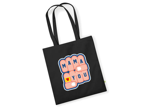 TOTE BAG NOIR MAMA LOVES YOU CHECK