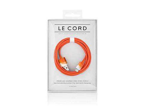CABLE iPHONE LE CORD AQUARELLE ORANGE