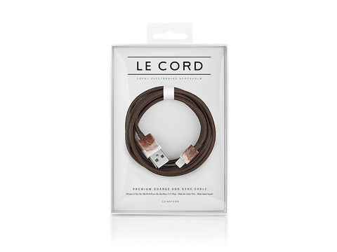 CABLE iPHONE LE CORD AQUARELLE MARRON