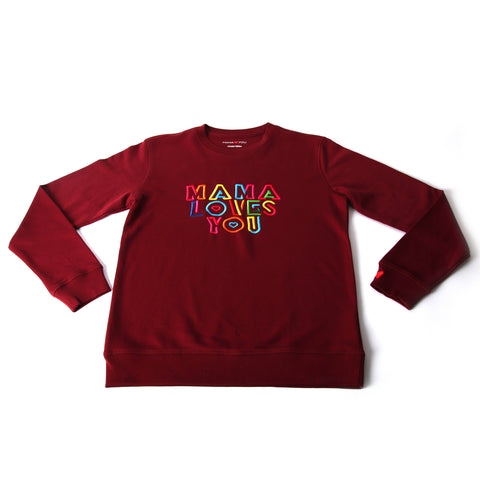 Sweatshirt Mama Loves You Bordeaux