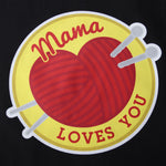 TOTE BAG NOIR MAMA LOVES YOU PELOTE JAUNE