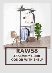 Conor clothes rack with shelf assembly guide