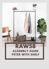 Peter clothes rack with shelf assembly guide