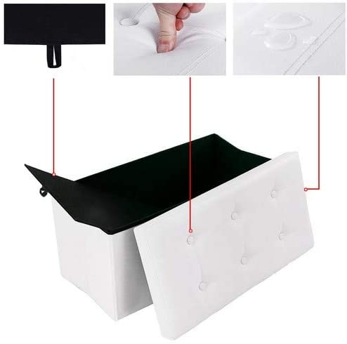 Product: Songmics Faux Leather Folding Storage Toy Ottoman Box/ Folding Storage Ottoman Footstool with Cushion LSF106