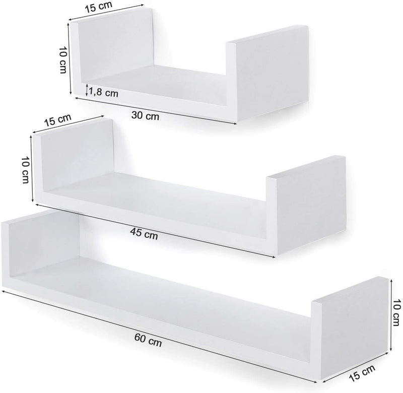 SONGMICS Wall Shelf Set of 3 Floating Shelves Storage 60/45/30 cm MDF Weight Capacity 15 kg White LWS66W