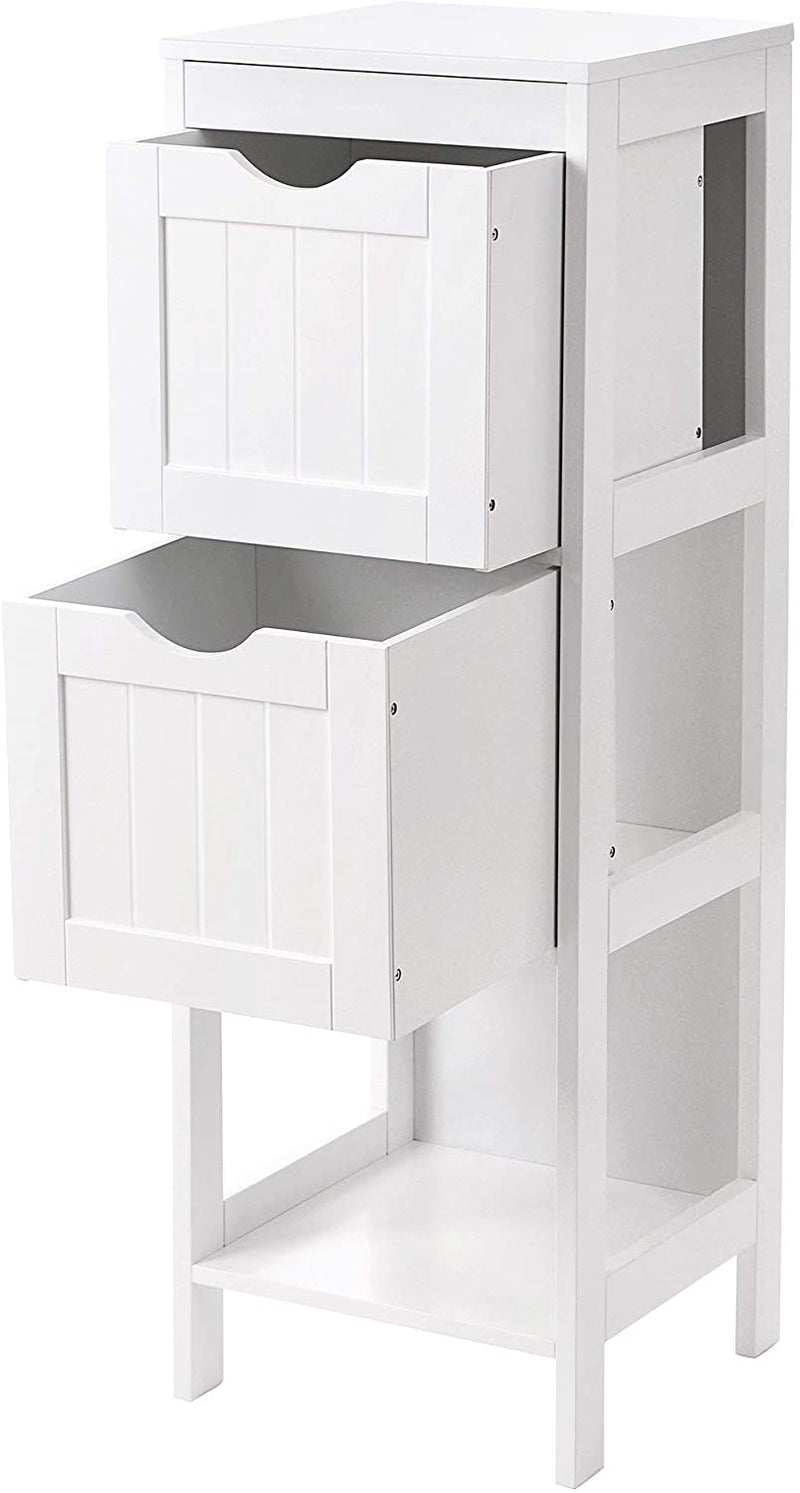 SONGMICS Wooden Bathroom Floor Cabinet Storage Organizer Stand Medicine Cupboard Bedside Free Standing Corner Unit with 2 Drawers White BBC42WT