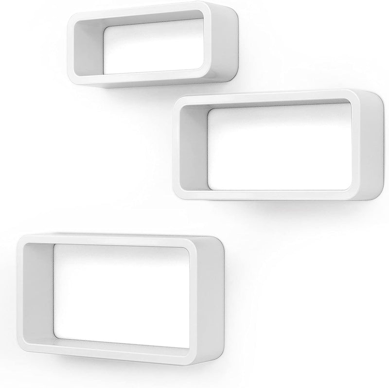 SONGMICS Wall Shelves Set of 3 Cube Floating Shelves Weight Capacity 15 kg, 44/39/34 cm, White LWS97W