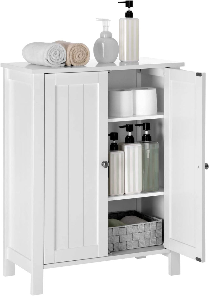 SONGMICS Freestanding Bathroom Cabinet Storage Cupboard Unit with 2 Doors and 2 Adjustable Shelves White BCB60W