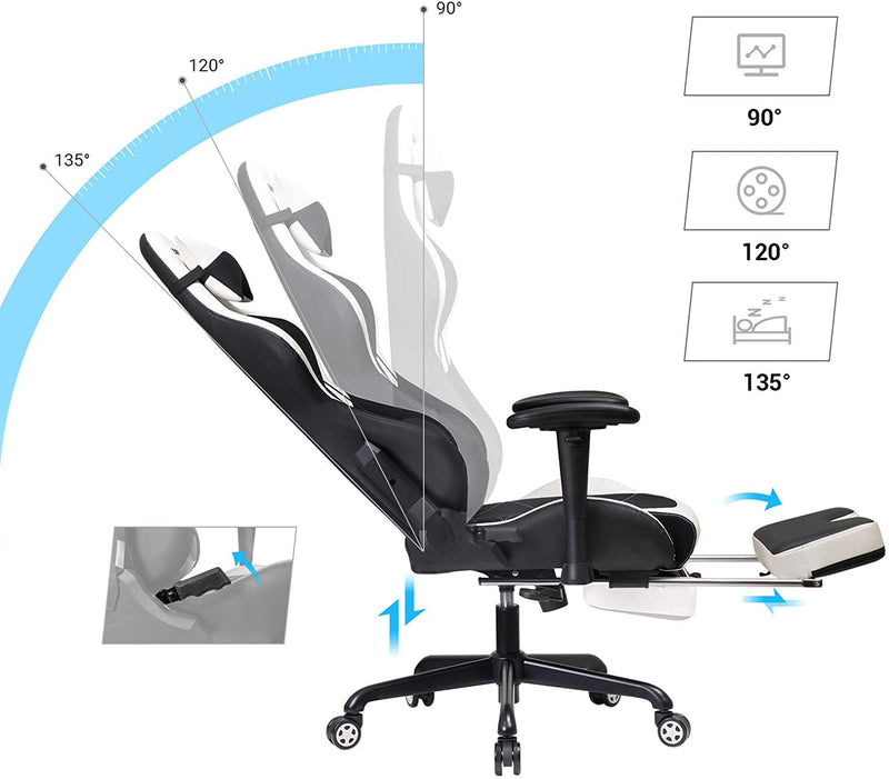 SONGMICS gaming chair with footrest, 150 kg, office chair, desk chair, lumbar cushion, pillow, high back, ergonomic, steel, imitation leather, breathable mesh, black and white RCG52BW