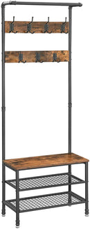 VASAGLE Coat Rack Stand with Bench, Hall Tree, Shoe Rack with 2 Mesh Shelves, Hallway, Living Room, Metal, Easy Assembly, Industrial Design, Rustic Brown HSR37BX