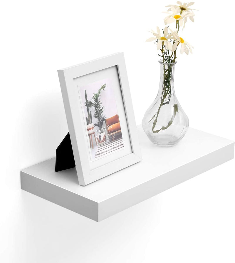VASAGLE Floating Shelf, Wall Shelf for Photos, Decorations, in Living Room, Kitchen, Hallway, Bedroom, Bathroom, White LWS24WT
