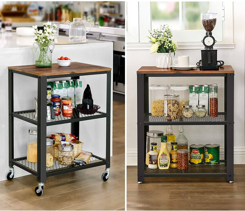 SONGMICS 3-Tier Kitchen Cart Trolley, Rustic Rolling Utility Cart, Heavy Duty Storage Organiser, with Wooden Top, Wheels, for Kitchen and Living Room, Vintage, Black LRC78X
