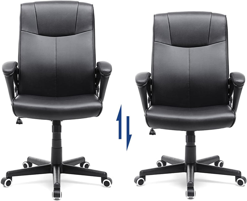 SONGMICS Executive Office Swivel Chair Height Adjustable with Tilt Function PU Black OBG32B
