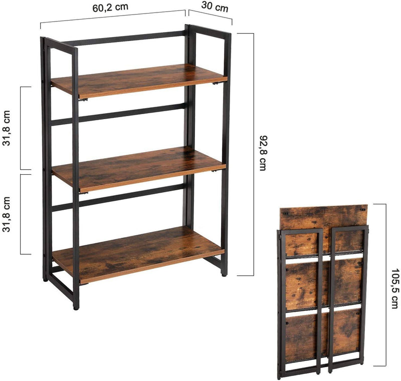 VASAGLE Ladder Shelf, Folding Storage Rack, 3-Tier Industrial Bookshelf, Multifunctional Shelving Unit, Easy Assembly, with Metal Frame, for Living Room, Bedroom, Balcony, Rustic Brown LLS66X