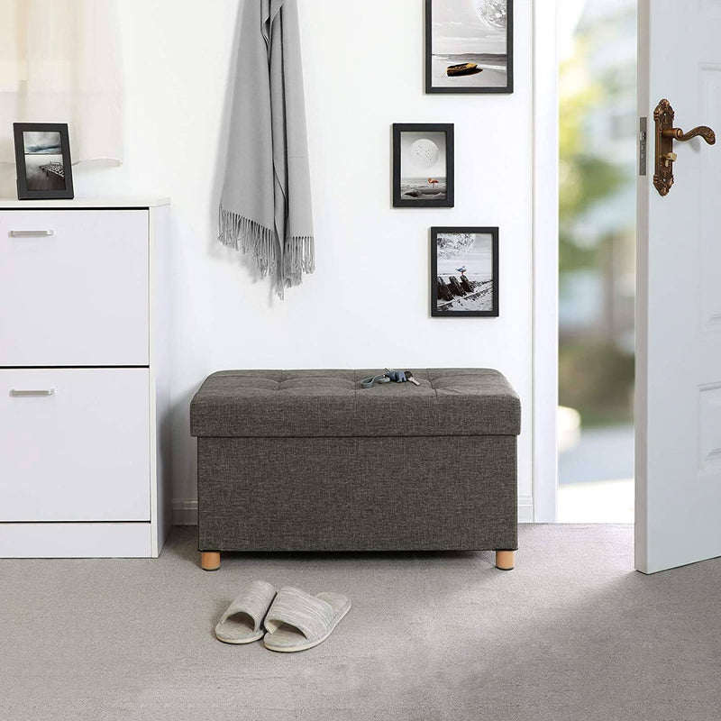 SONGMICS Storage Ottoman, Padded Foldable Bench, Chest with Lid, Solid Wood Feet, Space-Saving, 65L Capacity, Holds up to 300 kg, for Bedroom, Hallway, Children?s Room, Dark Grey LSF16GYZ