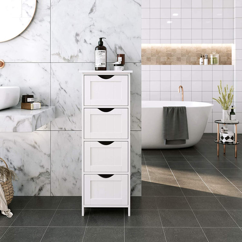 SONGMICS Bathroom Storage Cupboard Storage Cabinet Standing Wooden with 4 drawers 30 x 30 x 82 cm (W x D x H) White LHC40W