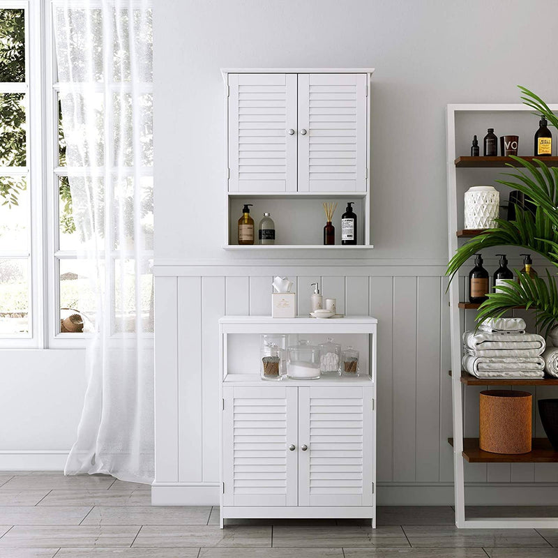 VASAGLE Wall Unit, Hanging Cabinet for Bathroom, Medicine Cabinet with Adjustable Shelf, Double Door and Open Shelf, 60 x 20 x 70 cm, Ligneux, White BBC27WT
