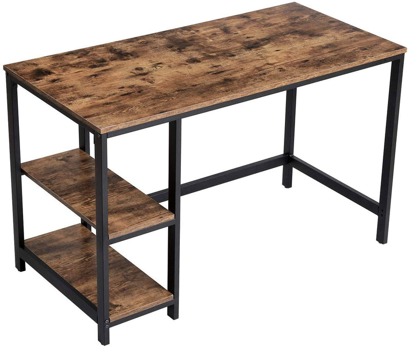 VASAGLE Computer Desk, Writing Desk with 2 Shelves on Left or Right, Work Table for Office Living Room, Steel Frame, Industrial, Rustic Brown and Black LWD47X