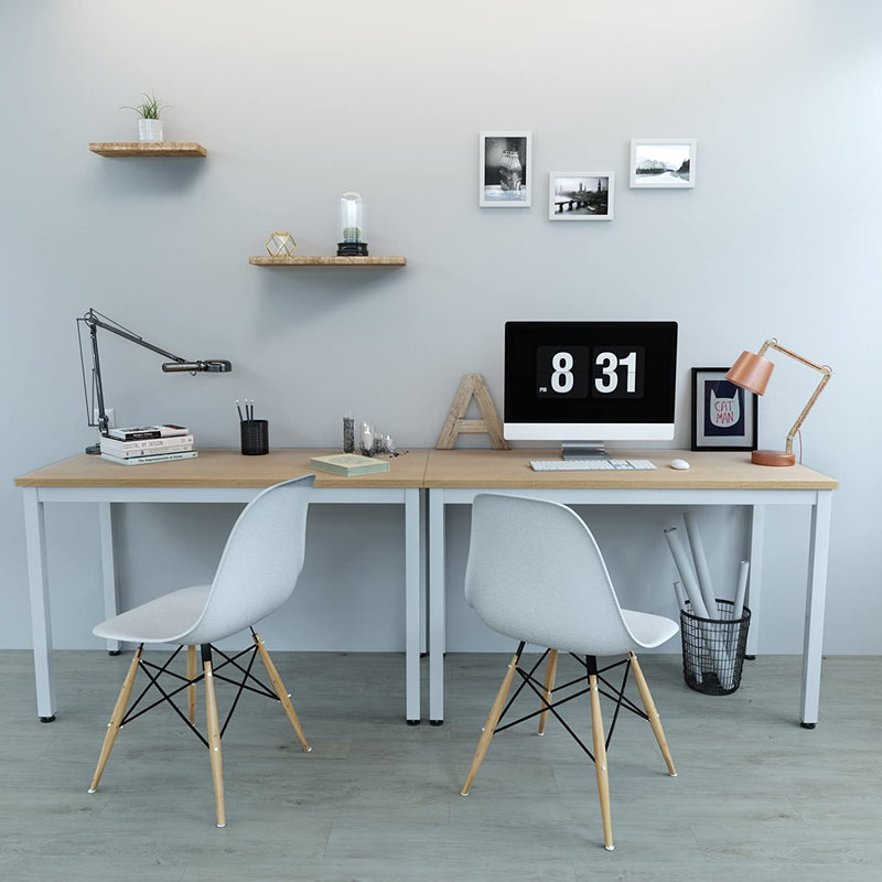 SONGMICS Computer Desk, Study Table, Stable Office Desk, Large Gaming Desk, Easy Assmblely, for Home and Office, with Adjustable Leveling Feet, 120 x 60 x 76 cm (W x D x H) , Wood Grain + White, LWD64N