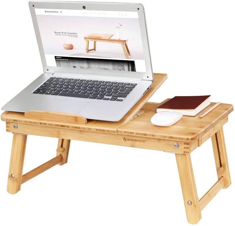 SONGMICS Folding Laptop Table Desk Adjustable Lapdesk PC Desktop Notebook Stand Bamboo Sofa Bed Tray for Drawing Writing Crafting Camping with Drawer LLD01N