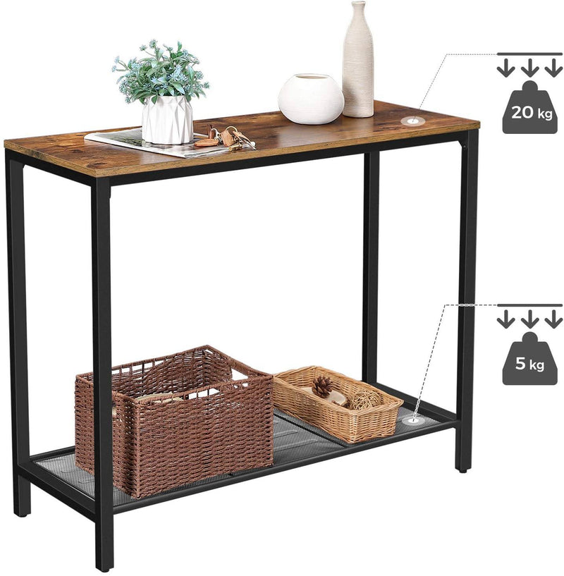 VASAGLE Industrial Console Table, Sofa Table, Entryway Table with Metal Mesh Shelf, 100 x 35 x 80 cm, for Hallway, Entryway, Living Room, Rustic Brown and Black LNT86X