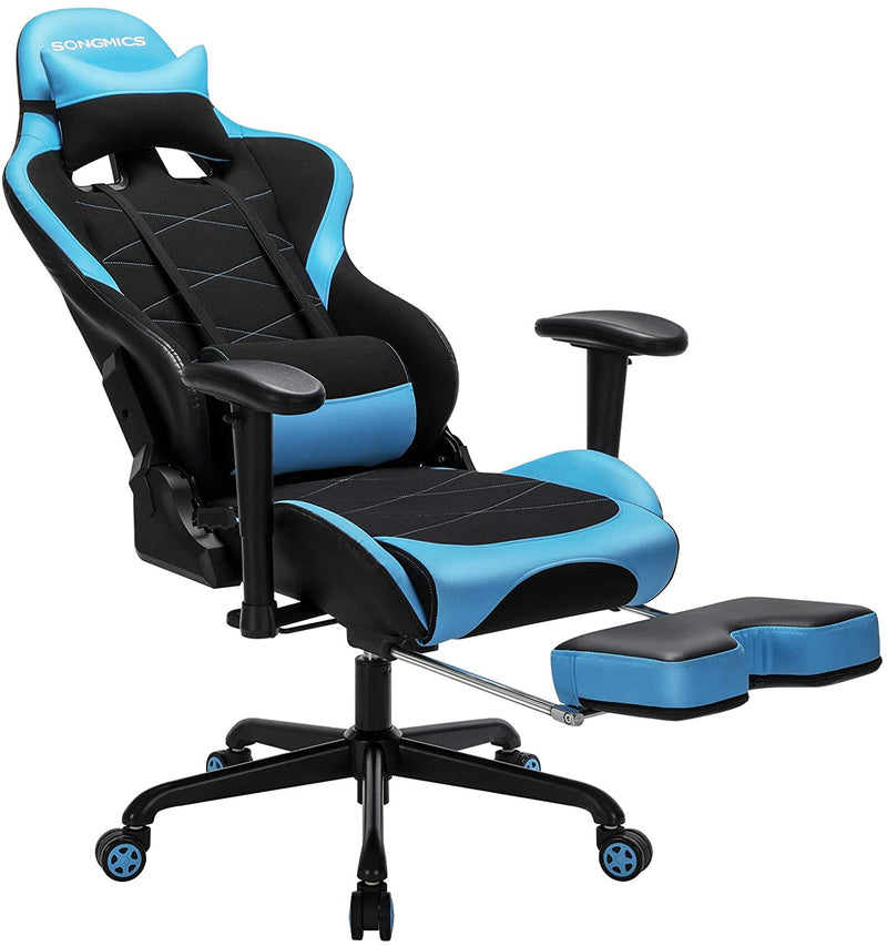 SONGMICS Gamer Chair Office Chair Computer Chair Adjustable Height Black, Blue RCG52BU