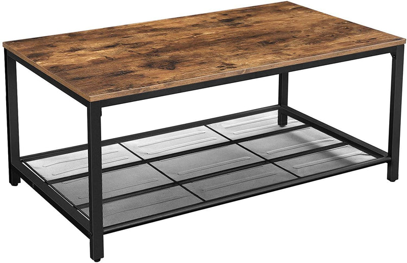 VASAGLE Coffee Table, Living Room Table with Dense Mesh Shelf, Large Storage Space, Tea Table, Easy Assembly, Stable, Industrial Design, Rustic Brown LCT64X