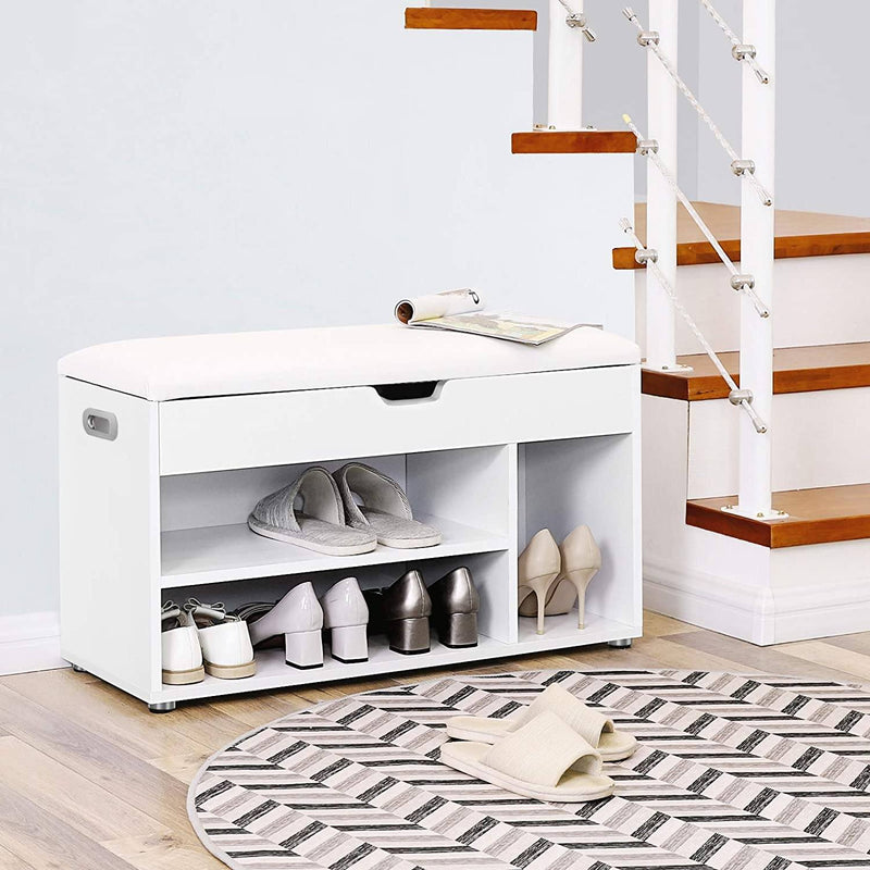 SONGMICS Wooden Shoe Storage Bench Ottoman Hallway Bench With Seat Cushion Seat Cabinet with 2 Shelves and a Hidden Storage Chest White, LHS30W