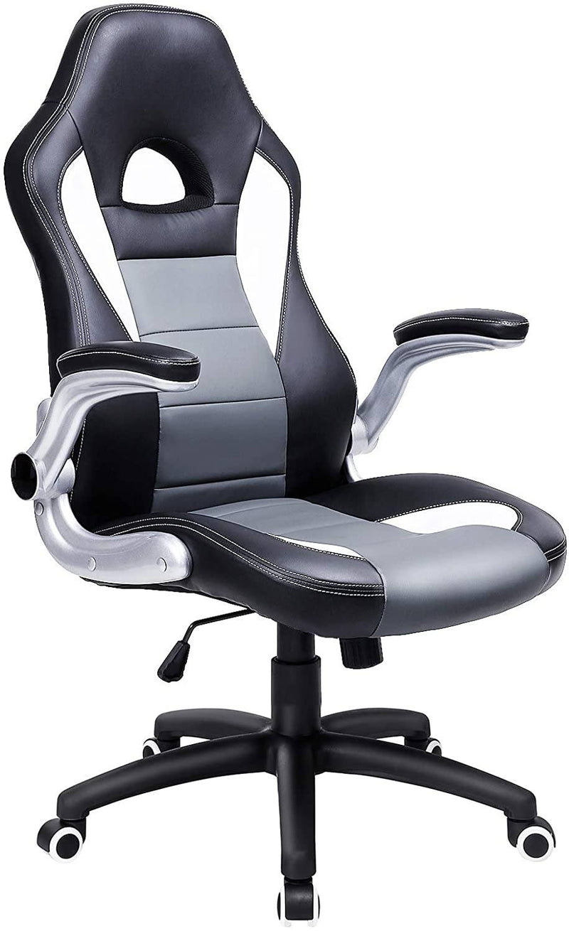 SONGMICS Racing Office Swivel Chair with 79 cm High Back Adjustable Armrest and Tilt Function Desk Computer Chair PU,Black + Gray + White OBG28GUK
