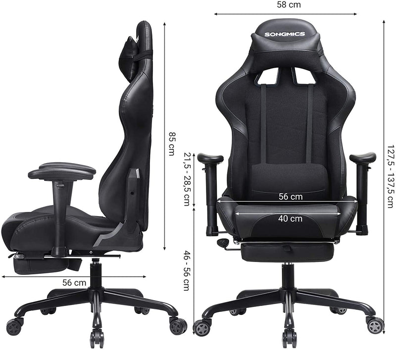 SONGMICS Gamer Armchair with Footstools, Racing Office Seat, Ergonomic, Lumbar Cushion, Steel Frame, High Back, PU and Polyester Coating, Load 150 kg, Black RCG52BK