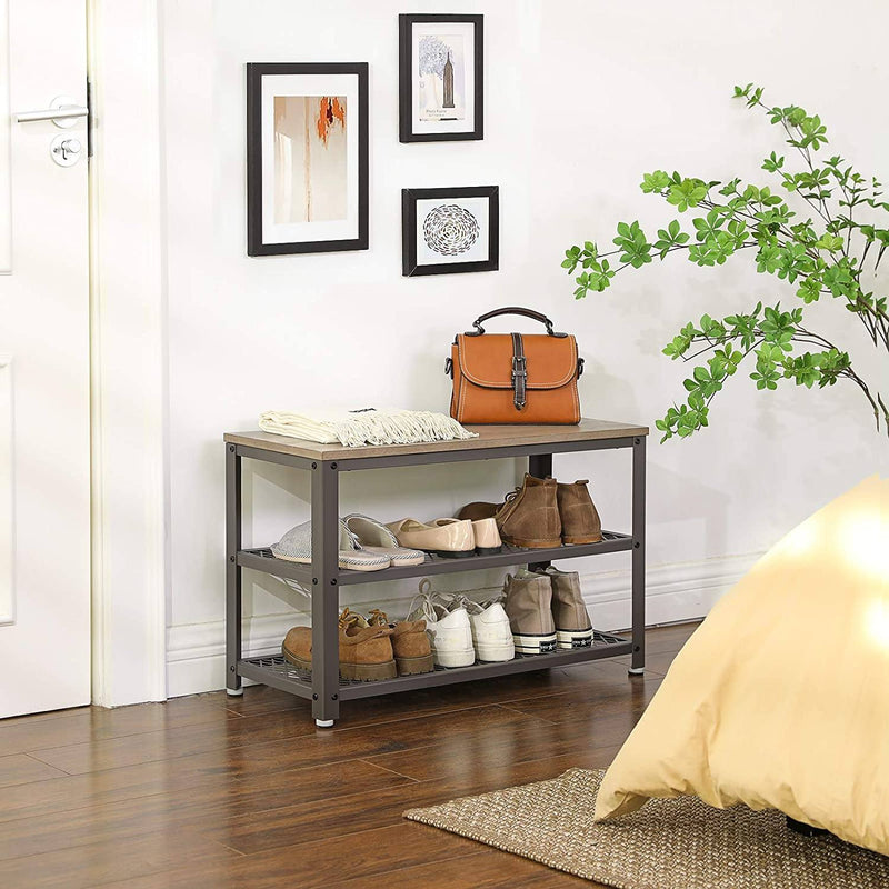 VASAGLE Shoe Bench, 3-Tier Shoe Rack, Storage Organiser with Seat and Shelf, Steel Frame, for Entryway, Living Room, Hallway, Industrial Accent Furniture, Greige and Grey