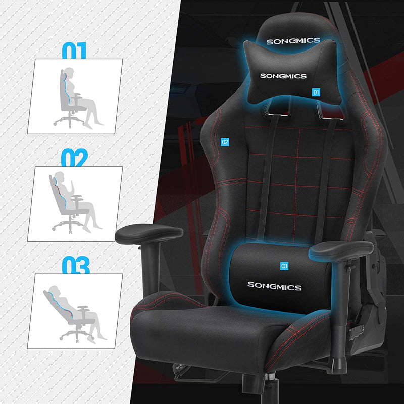 Songmics Racing Sport Gaming Chair Office Computer Chair with the Headrest and Lumbar Support Black RCG001