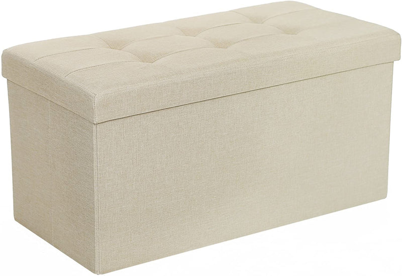 SONGMICS 80 L Storage Ottoman Rest Bench Imitation linen fabric Can Load Up to 300 kg 76 x 38 x 38 cm Beige LSF47BE