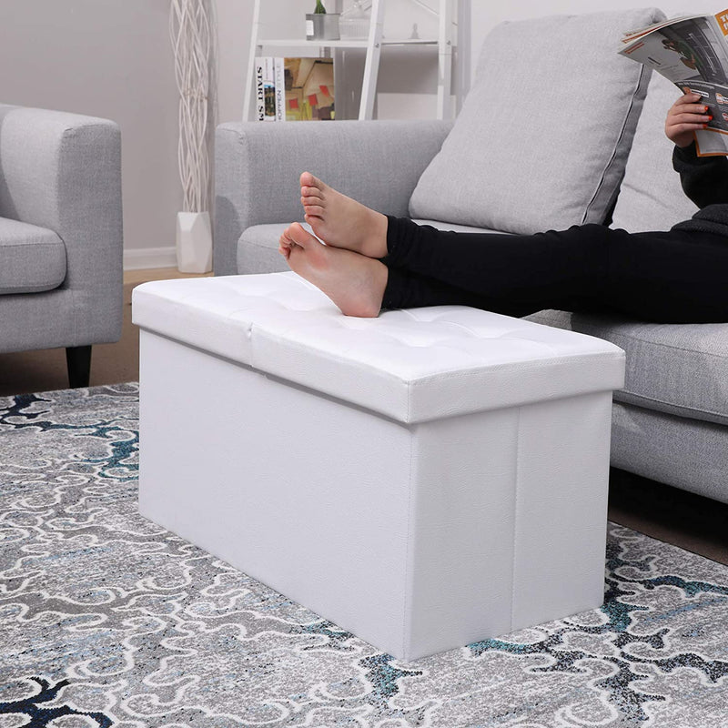 SONGMICS 80 L Folding Ottoman Bench Storage Box Flipping Lid Load Capacity of 300 Kg 76 x 38 x 38 cm White LSF45WT