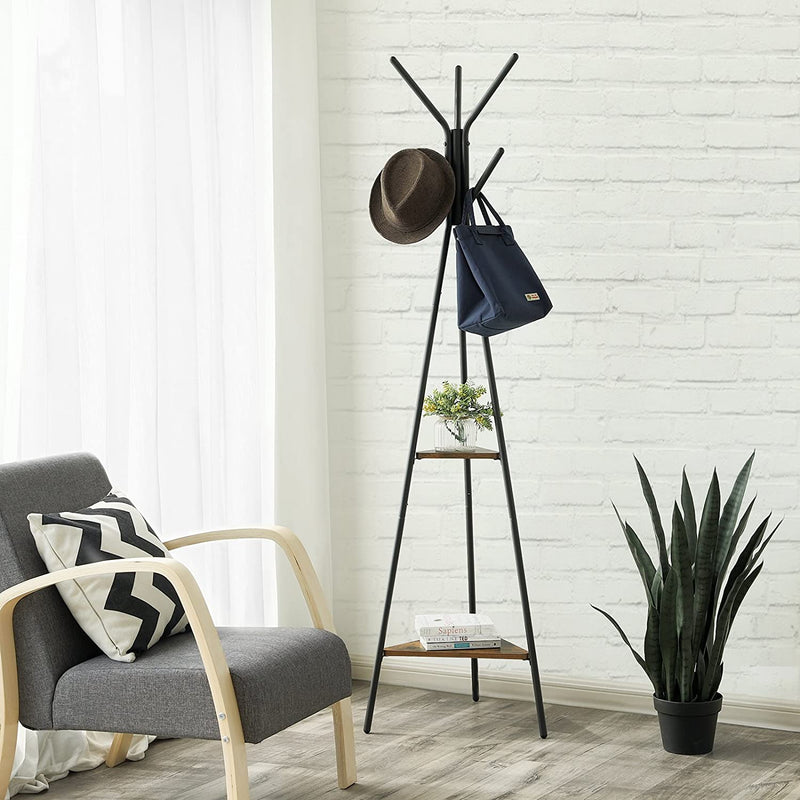 SONGMICS Vintage Coat Rack Stand, Coat Tree, Hall Tree Free Standing, Industrial Style, with 2 Shelves, for Clothes, Hat, Bag, Black, Vintage RCR16BX